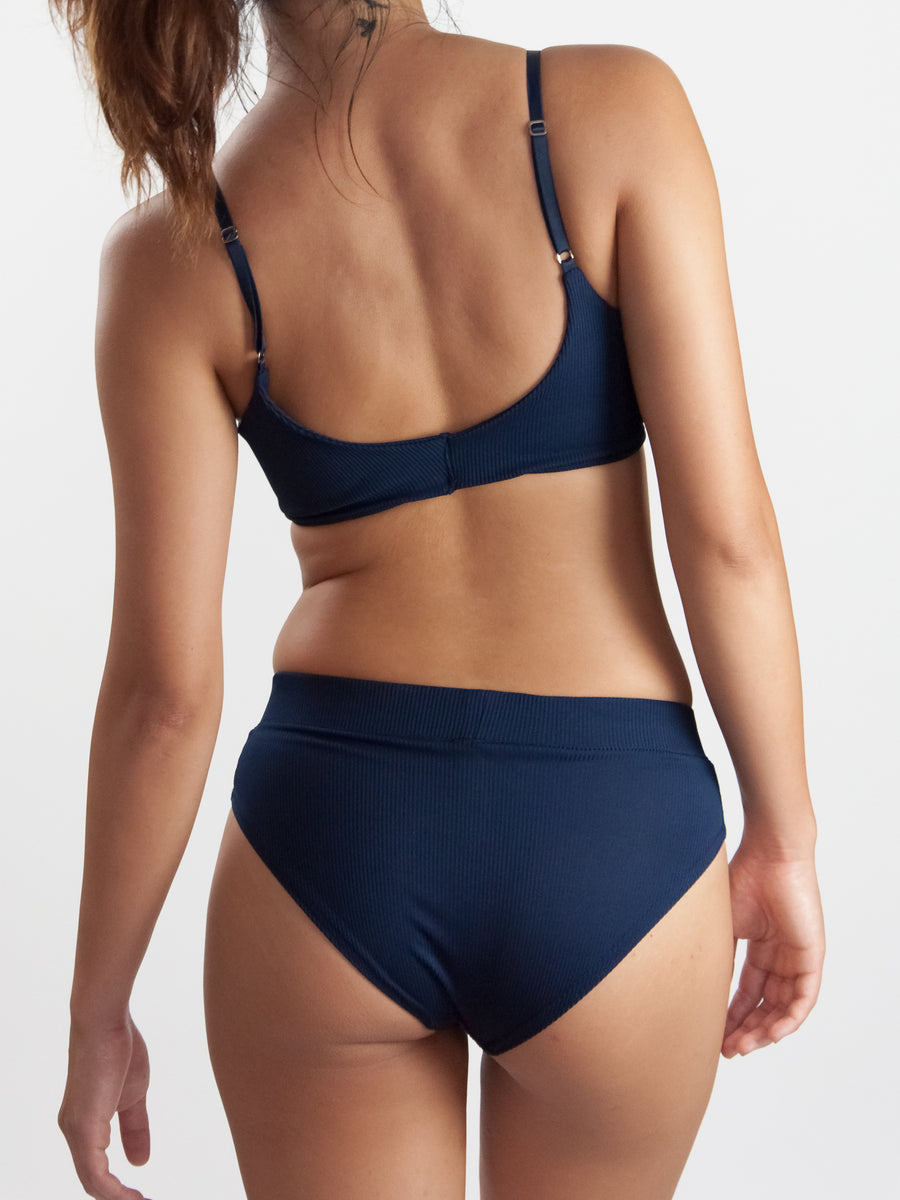 Because I Love Lingerie navy ribbed jersey high waist brief