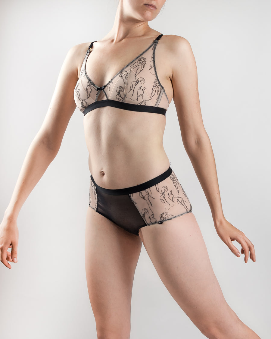 Crème Lingerie embroidered stretch tulle high waisted brief nude/black