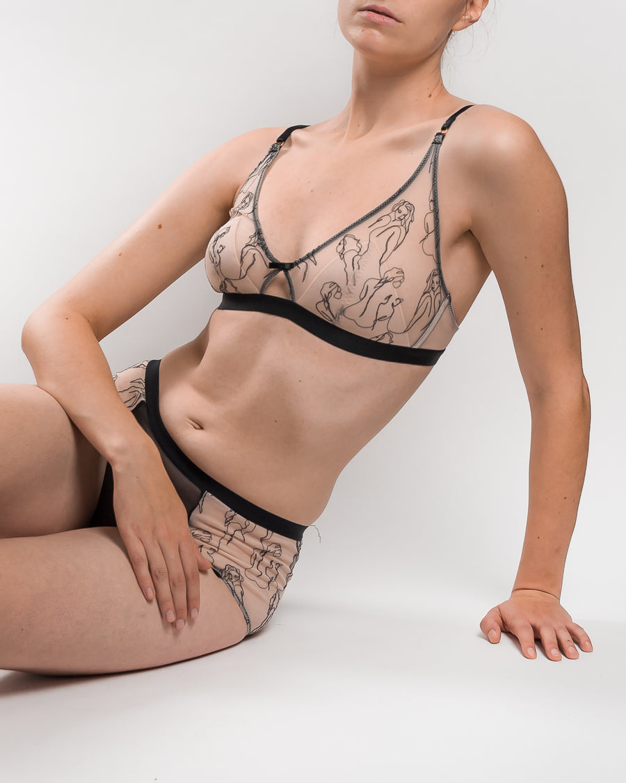 embroidered stretch tulle padded bralette