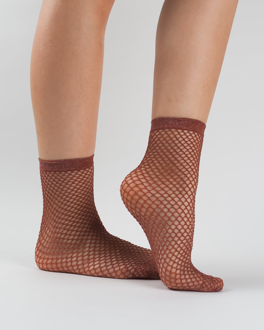 Fili Folli fishnet macrame ankle socks red amaro