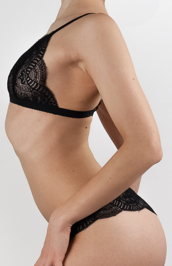 Fluxe Designs scalloped stretch lace triangle bra black