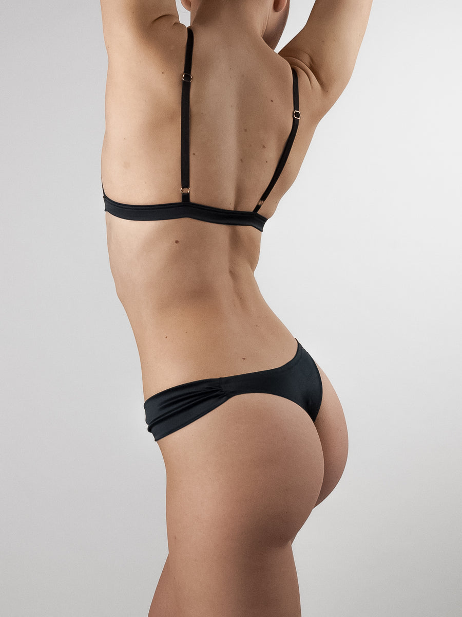 Lola Wants Lingerie black stretch satin butterfly thong