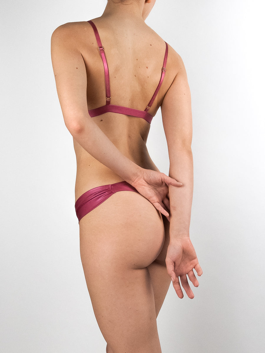 Lola Wants Lingerie pink stretch satin butterfly thong