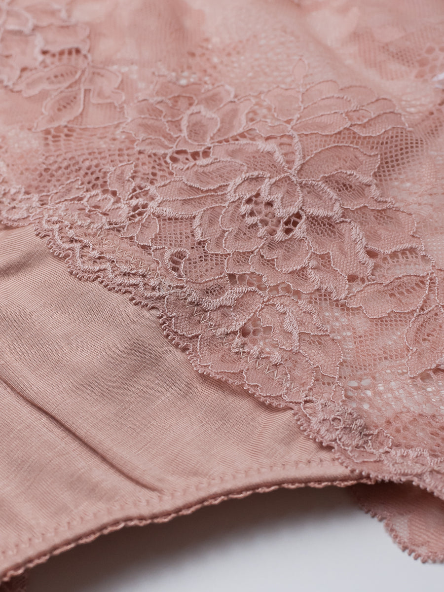 Lonely Lingerie high waisted bamboo lace french brief rose