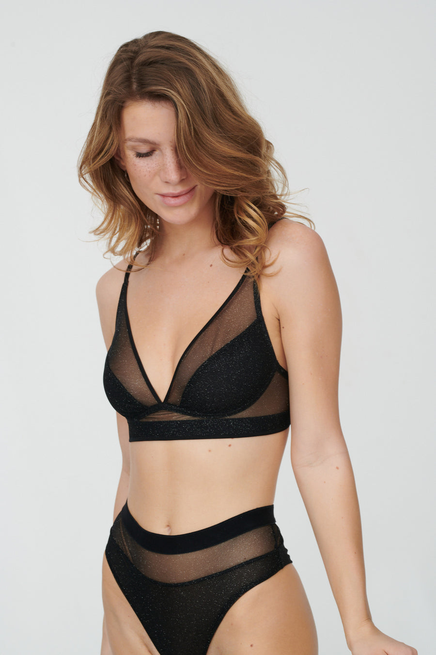 glitter power mesh lined soft bra