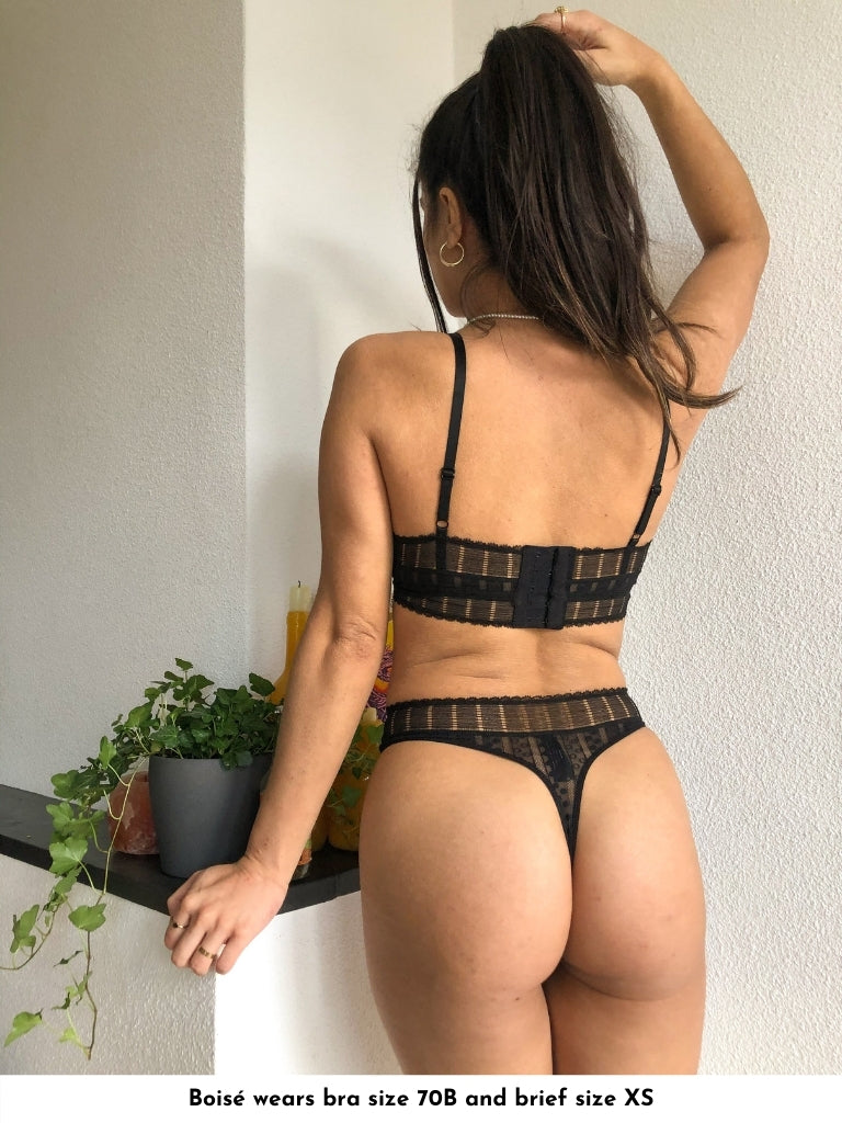 geometric stretch lace thong