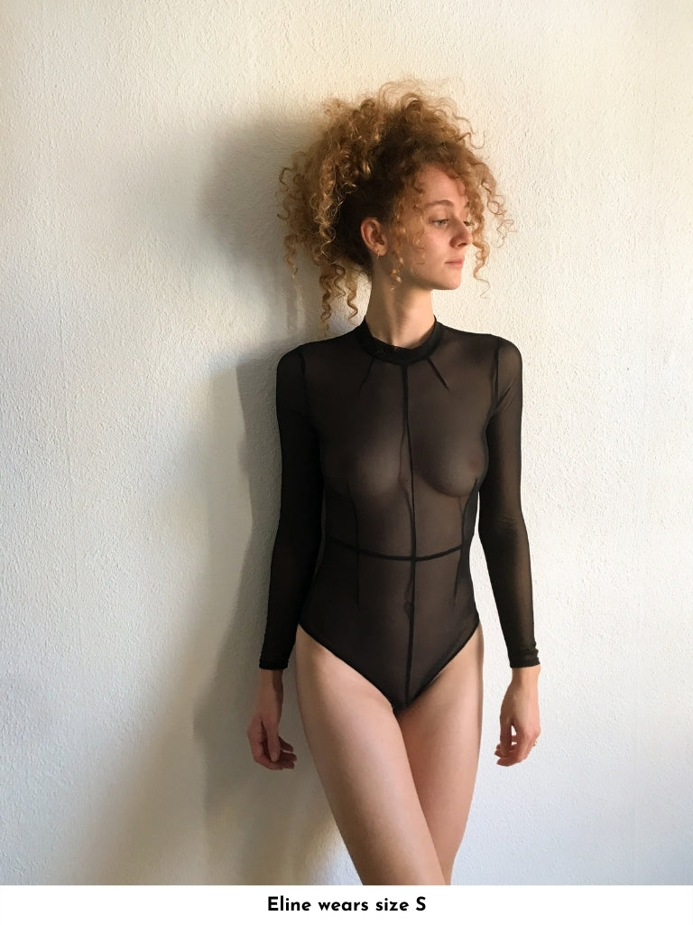 structured stretch tulle bodysuit