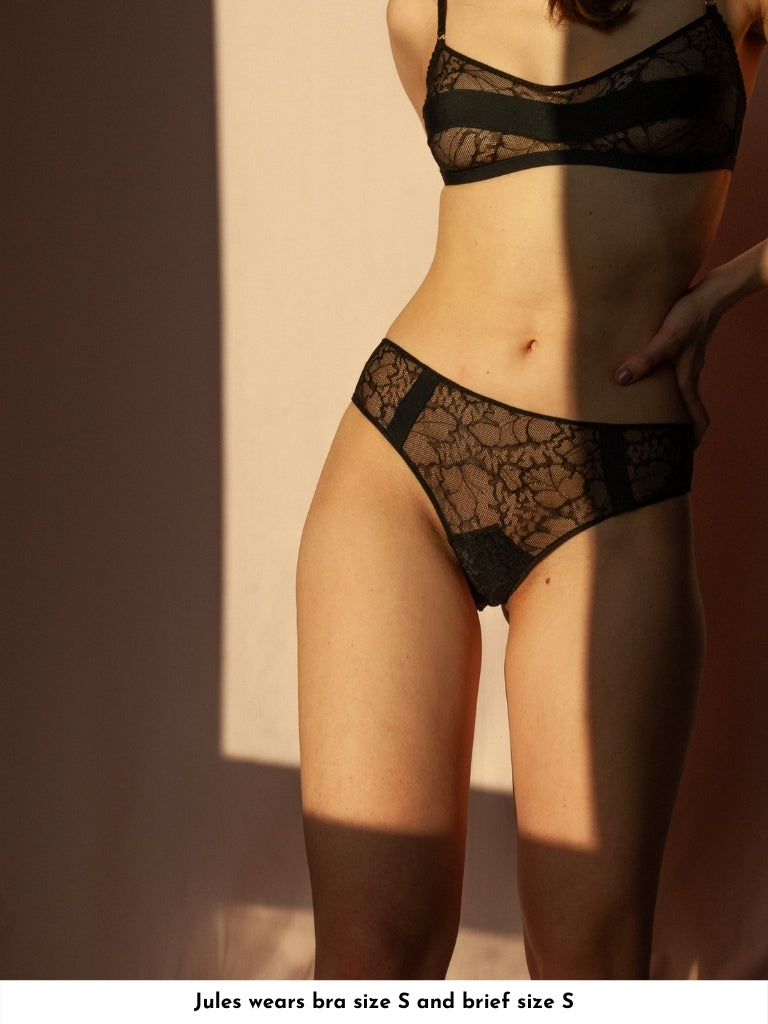 satin and lace brief