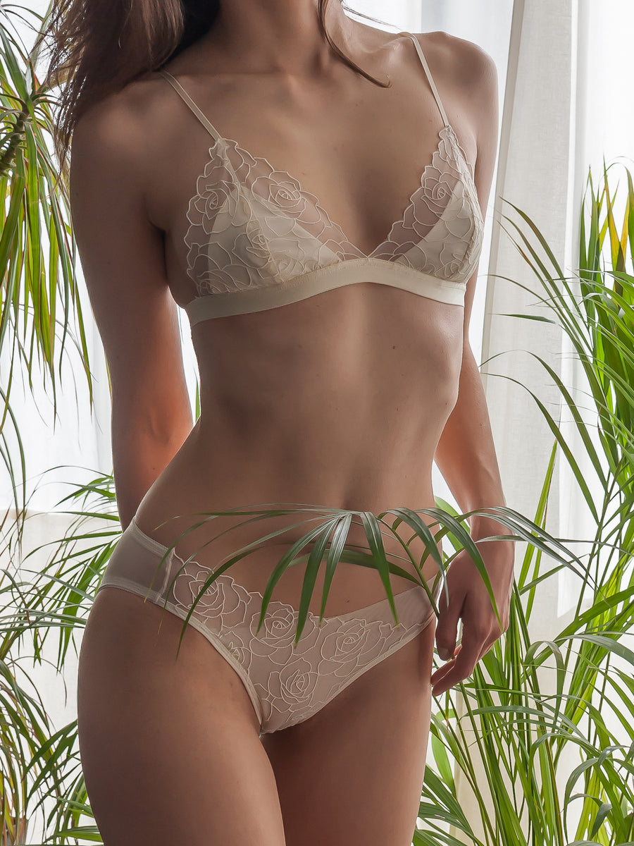 floral embroidered tulle and satin bralette