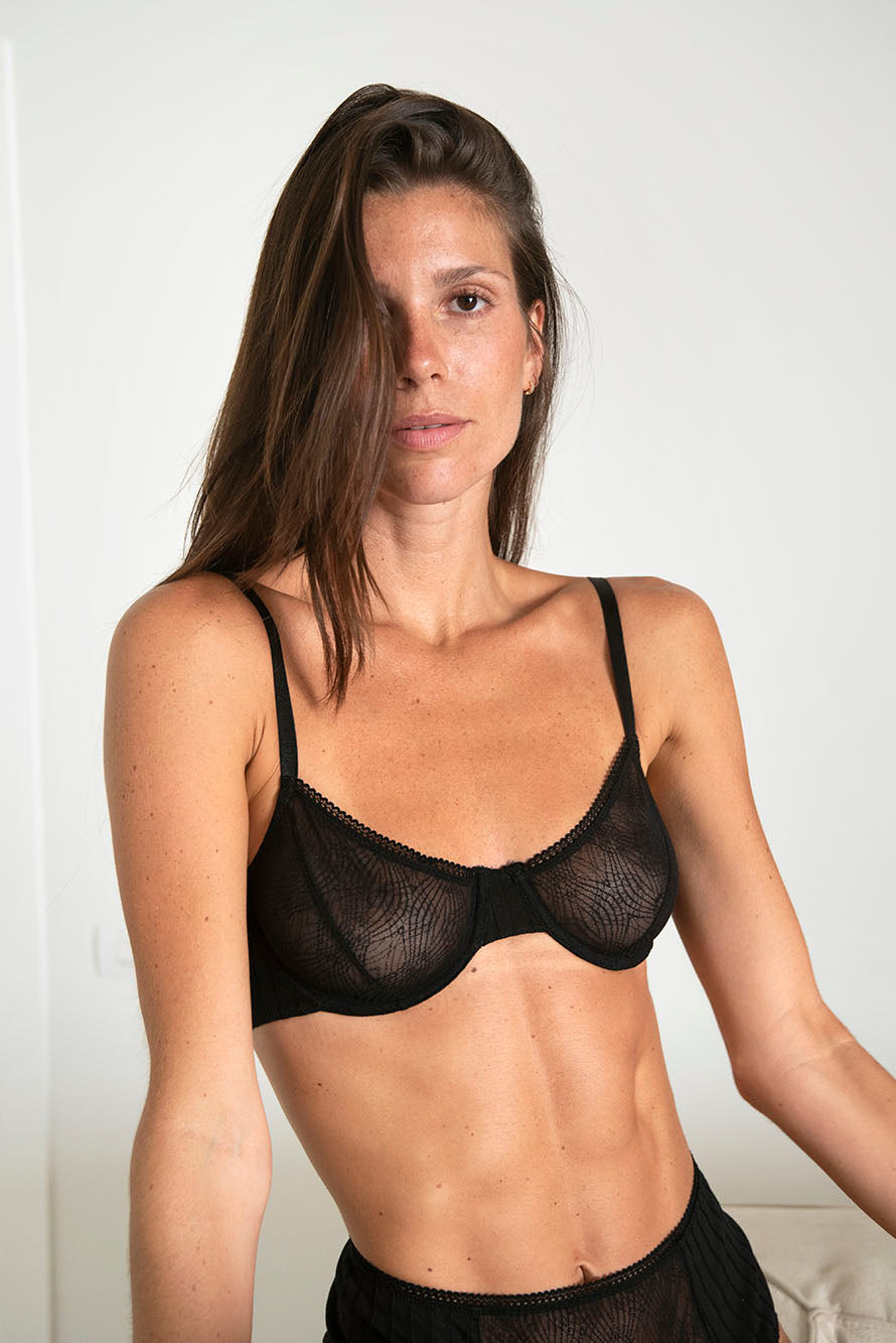 lace and jersey underwire bra