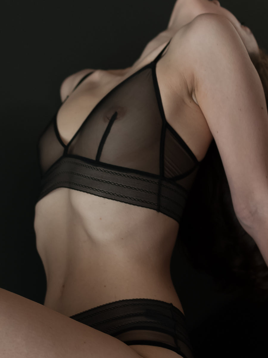 bare lace trimmed stretch tulle triangle bra