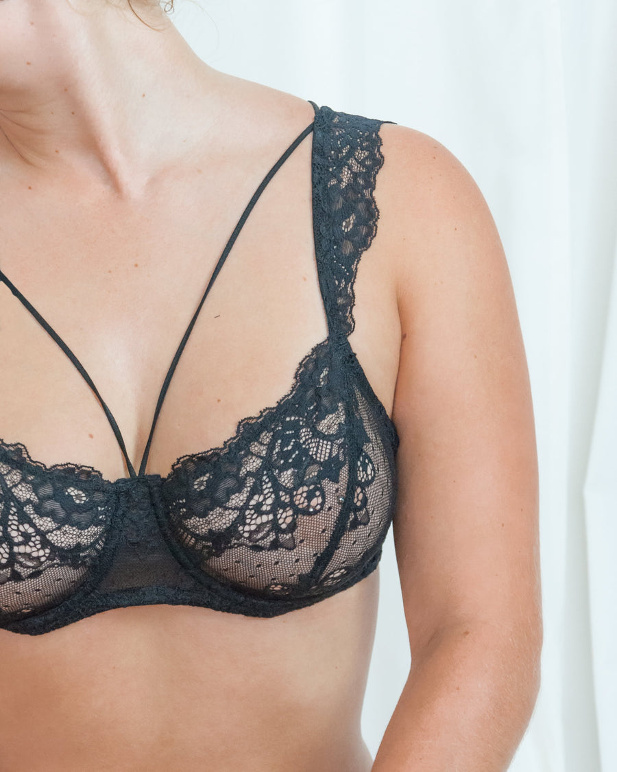 lola wants lingerie lace trimmed strappy soft cup underwire bra black