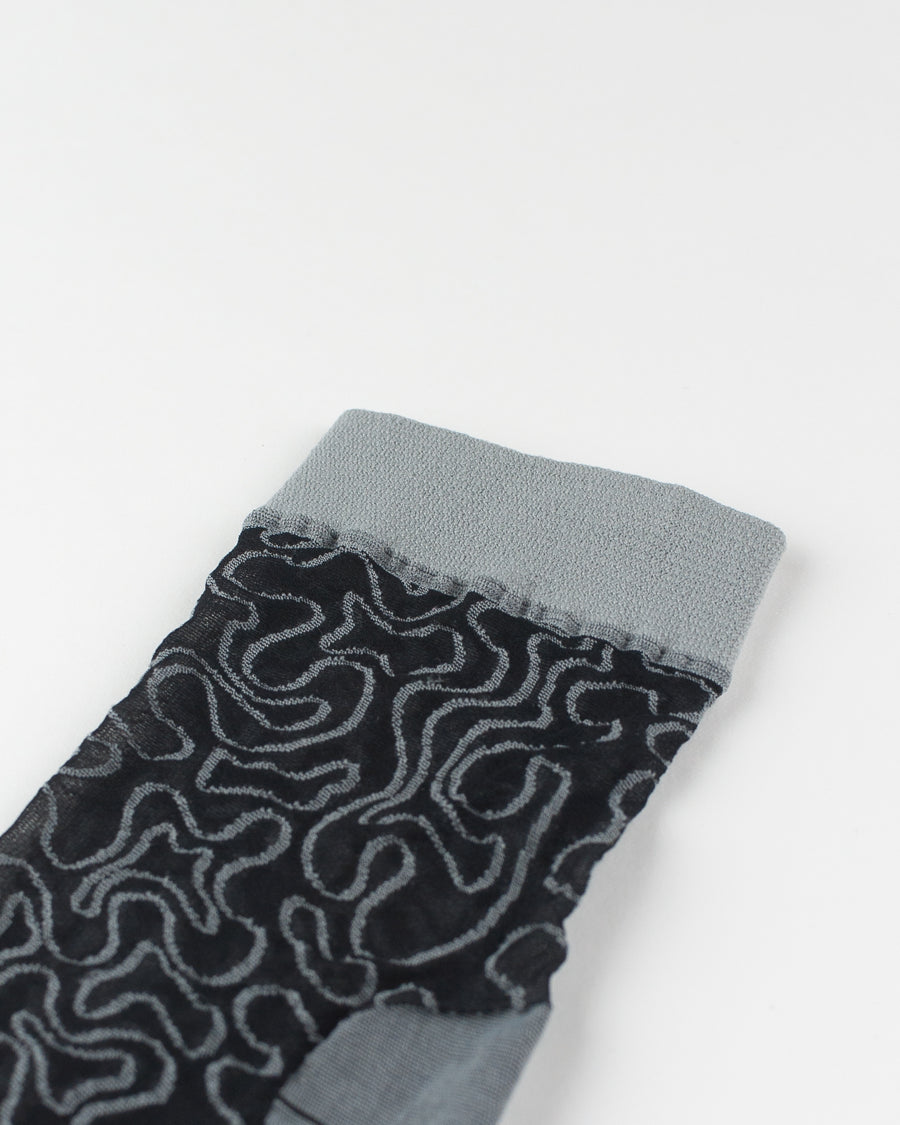 Fili Folli embroidered stretch tulle socks grey black