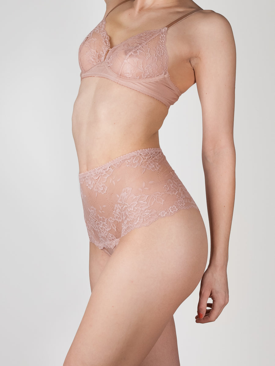 high waisted bamboo lace french brief