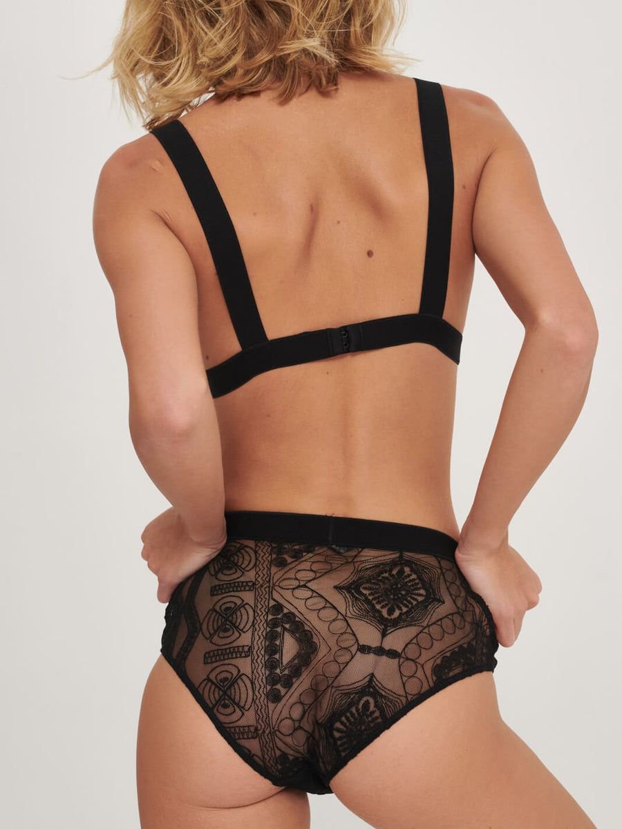 embroidered tulle high waisted cut out brief
