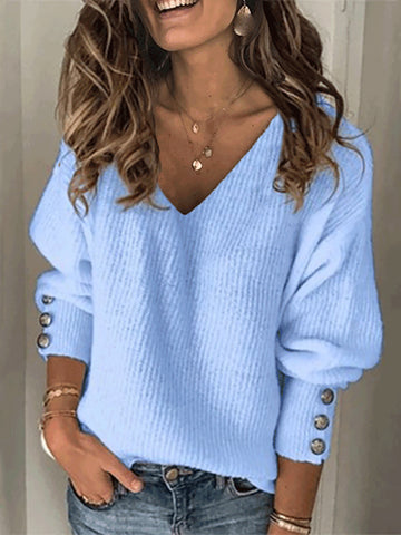 Women's fashion V-neck warm sweater