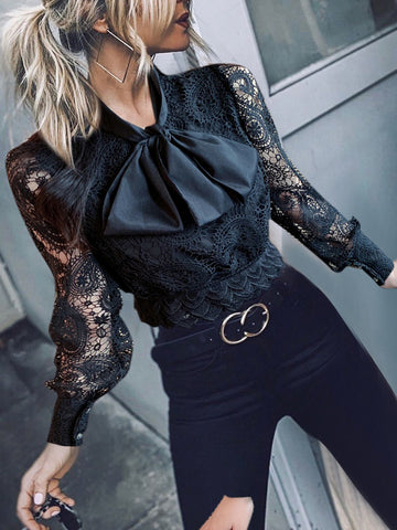 Retro lace shirt sexy hollow-out perspective bow tie with short style jacket