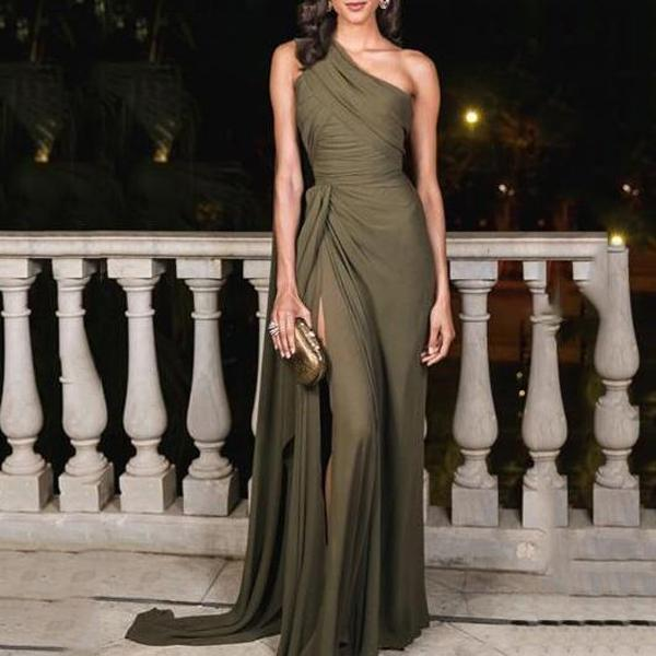 Sexy Plain Slim Off Shoulder Fork Army Green Evening Dress Maxi Dress