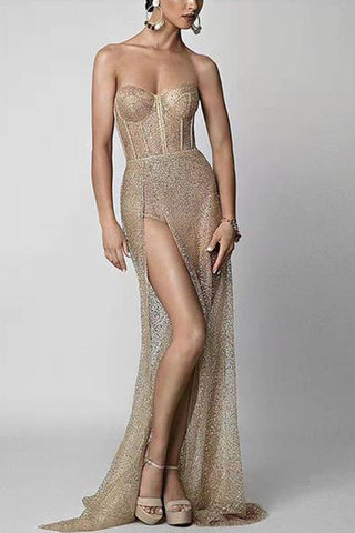 Elegant Woven Paillette Long Evening Dress