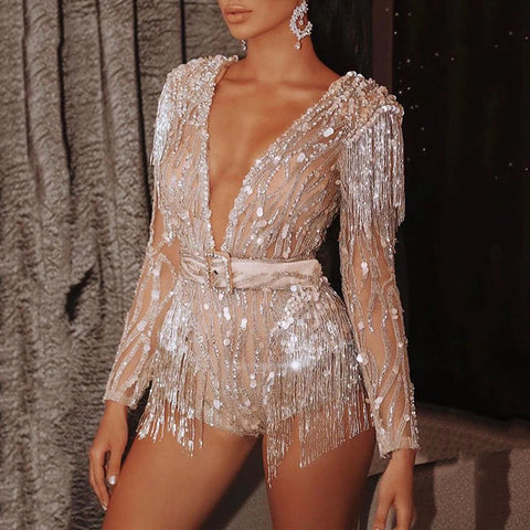 Sexy Deep V Long Sleeve Sequin Tassels Jumpsuit