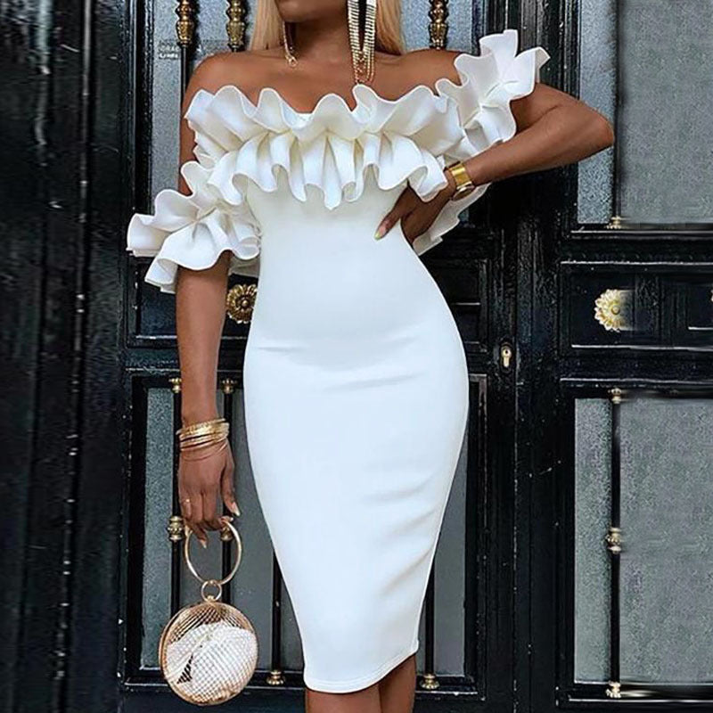 Sexy Solid Color Off-The-Shoulder Ruffled Sleeves Bodycon Dress