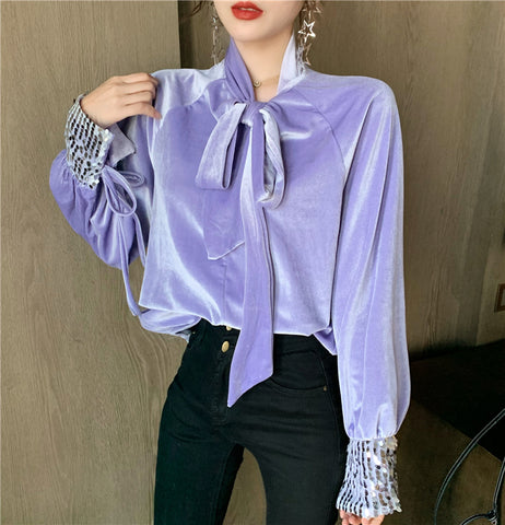 Fashion Design Sequins Stitching Long-Sleeved Loose Retro Blouse