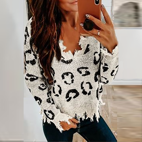 Fashion Commuter Leopard Knit Pullover Sweater