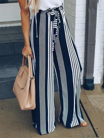 Striped Casual Straight Leg Pants