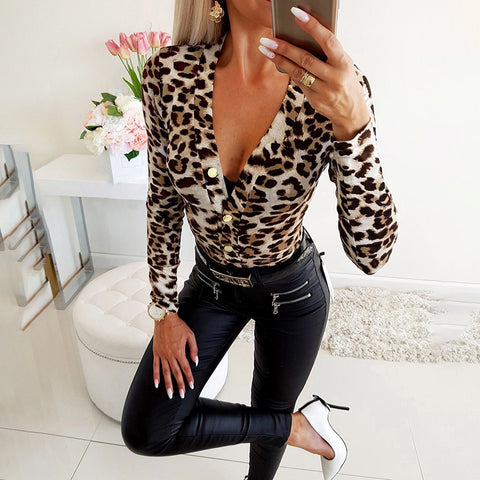 Sexy Low-cut V Neck Long-sleeved Shirts