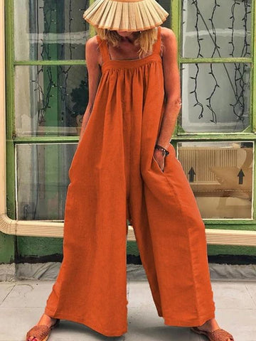 JUSTREDCOCO Casual Solid Sleeveless Spaghetti Jumpsuit Wide Leg Pants