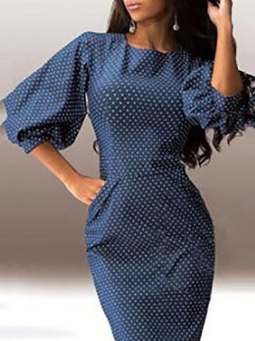 Crew Neck  Cutout Patchwork  Bust Darts  Polka Dot  Bishop Sleeve Bodycon Dresses