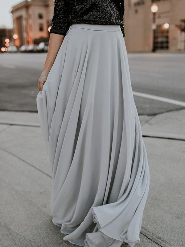Casual Plain Chiffon Large Hemline Maxi Skirt
