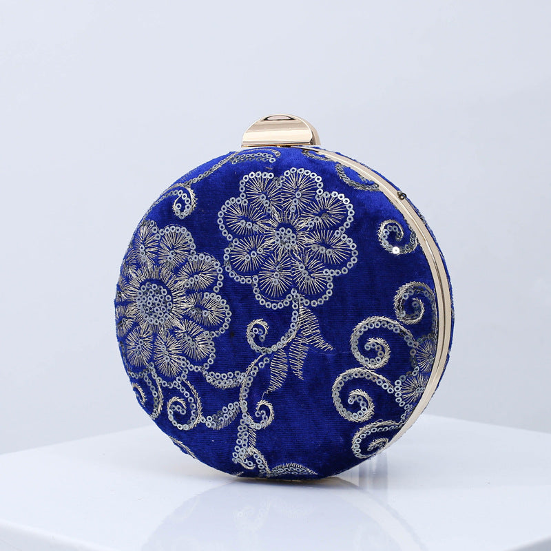 Women's fashion retro sequins small round bag