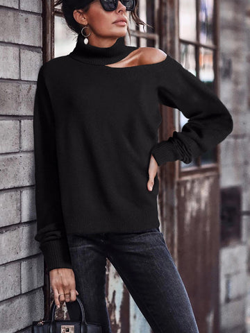 Fashion High Collar Open-Shoulder Knit Sweater.