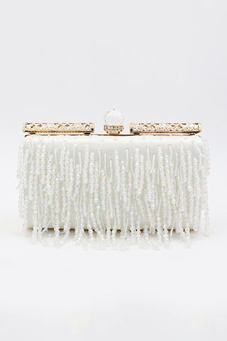 Fashion Rectangle Dress Beaded Tassel Banquet Bag