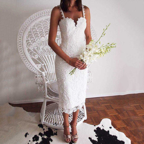 Lace Sexy Sling Wedding Dress Evening Dress