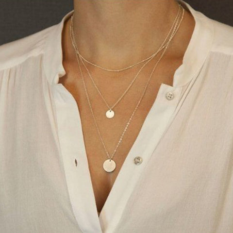 Simple Sequined Mmulti-Layer Suit Necklace