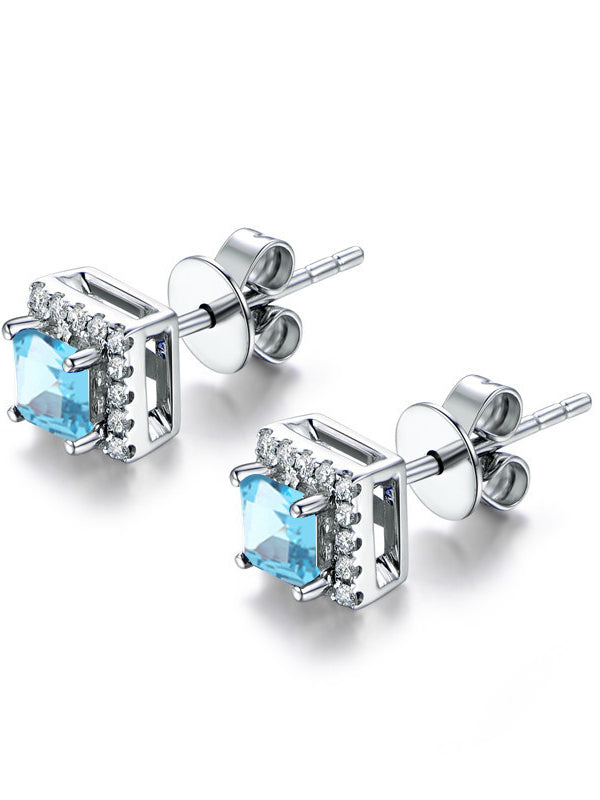 Light Luxury Fashion Wild S925 Silver Stud Earrings Simple Topaz Earrings