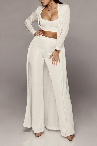 Sexy Knitting Wide Legged Pants Three Piece Suit