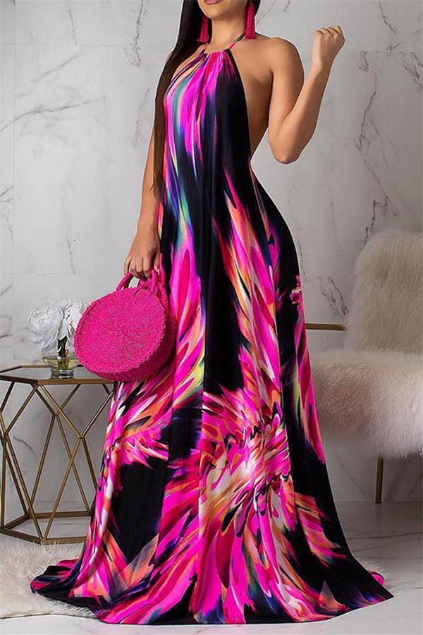Sexy Sleeveless Backless Printed Vacation Dress