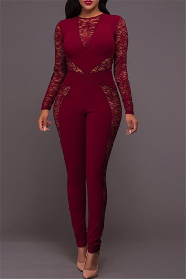 Sexy Lace Stitching Round Collar Jumpsuits