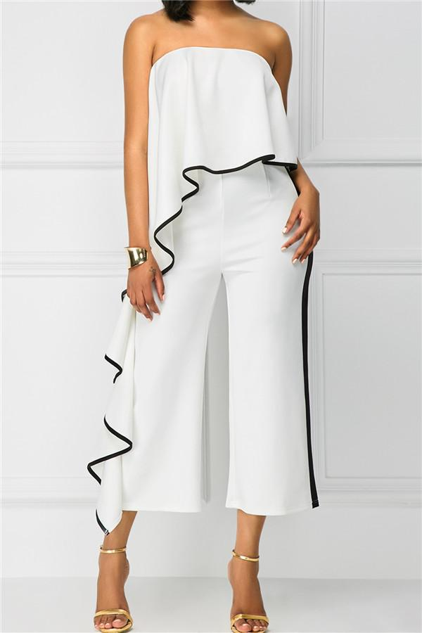 Sexy One Shoulder Stitching Jumpsuits
