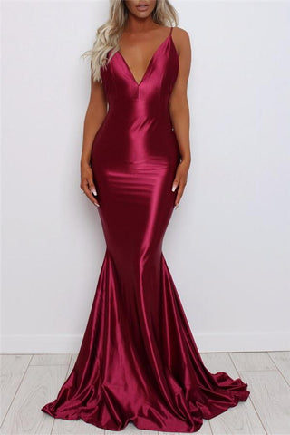 Sexy Suspender Pure Color Fishtail Evening Dress