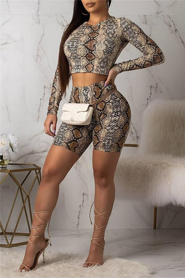 Sexy Serpentine Printed Long Sleeve Two Piece Set