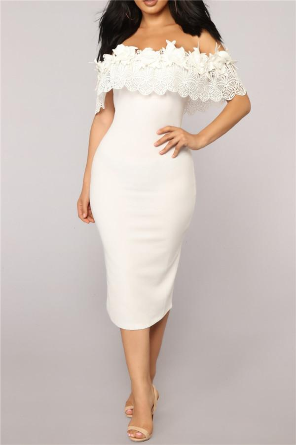 Sexy One Shoulder Lace Stitching Bodycon Dresses