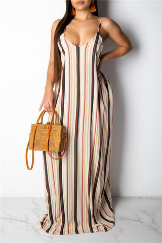 Fashion Sling Stripes Casual Dresses