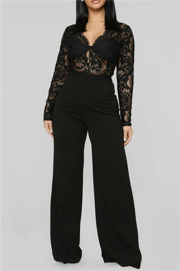 Sexy V Neck Lace Stitching Jumpsuits