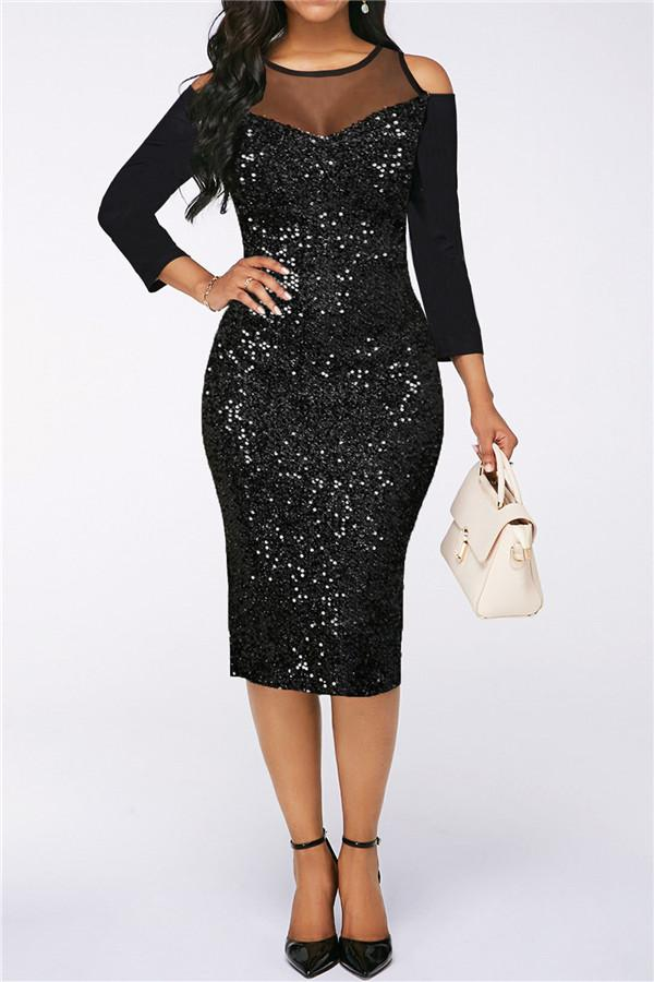 Fashion Screen Stitching Sequins Bodycon Dresses