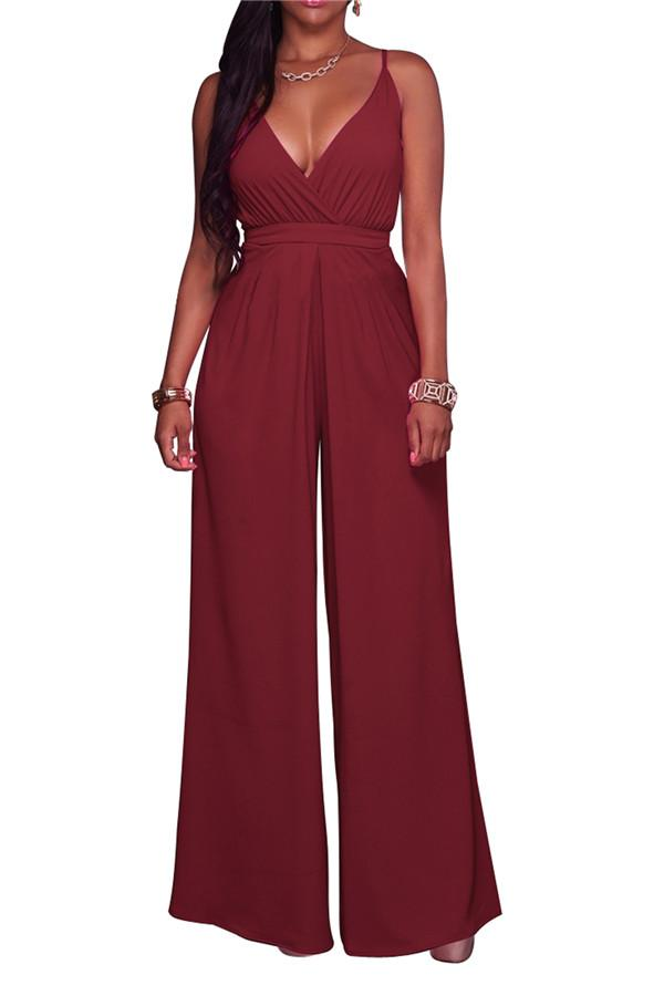 Sexy V Neck Pure Color Suspension Jumpsuits