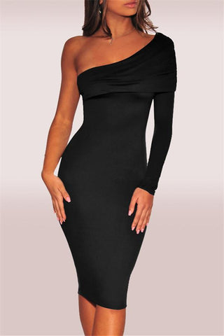 Fashion Single Sleeve Solid Color Bodycon Dresses